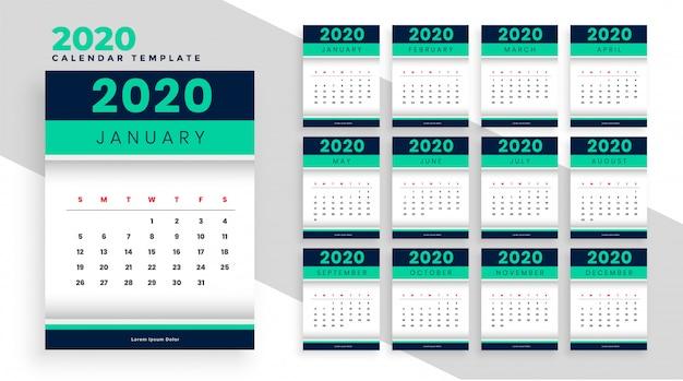 Stylowy układ szablonu kalendarza nowego roku na 2020 rok
