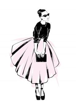 Stylowy wygląd. ubrania i akcesoria. ilustracja wektorowa na pocztówkę lub plakat. moda i styl, vintage i retro.