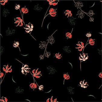 Stylowy wzór kwiatowy w kwitnących botanicznych motywach rozrzuconych losowo. bez szwu tekstury.