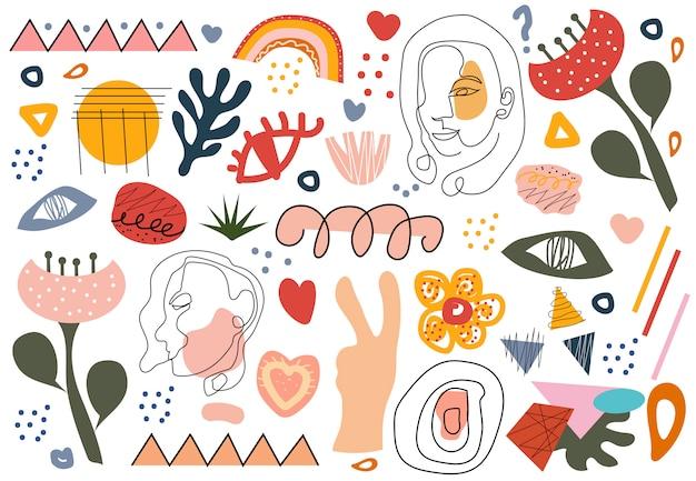 Stylowy Zestaw Do Rysowania Ręcznego Kształtów I Obiektów Doodle, Twarze Grafiki Liniowej. Streszczenie Styl Retro Nowoczesny Modny Hipster. Ilustracja Premium Wektorów