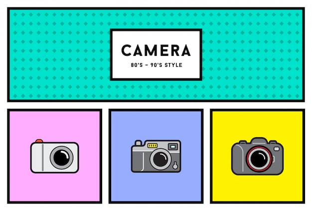 Stylowy zestaw ikon aparatu fotograficznego z lat 80-tych lub 90-tych z kolorami retro