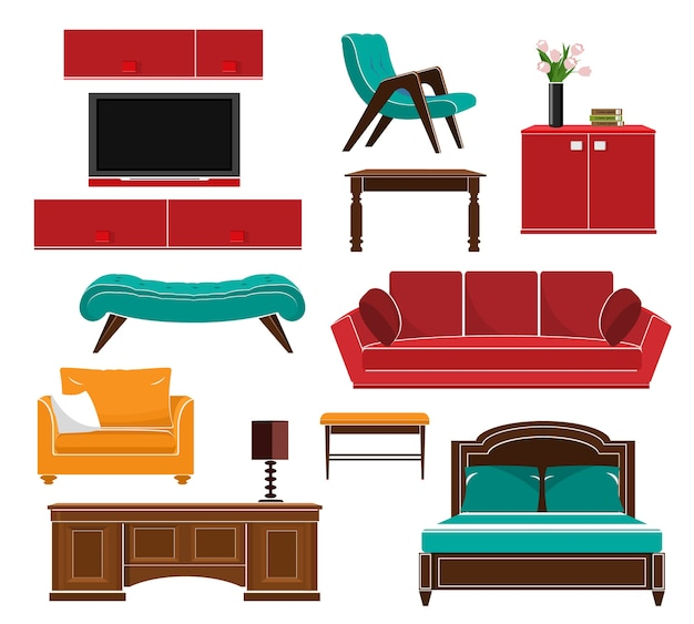 Stylowy zestaw ikon prostych mebli: sofa, stół, fotel, krzesło, szafka, łóżko. ilustracja.