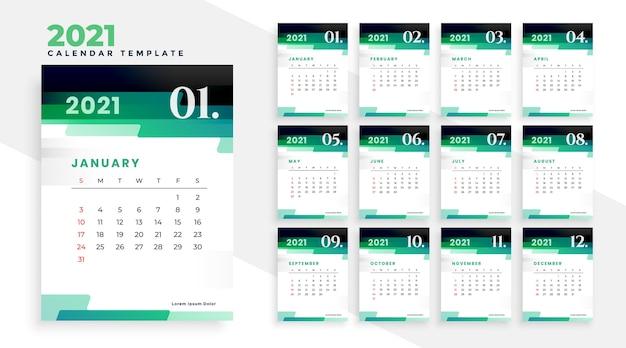 Stylowy zielony nowoczesny szablon projektu kalendarza nowy rok 2021