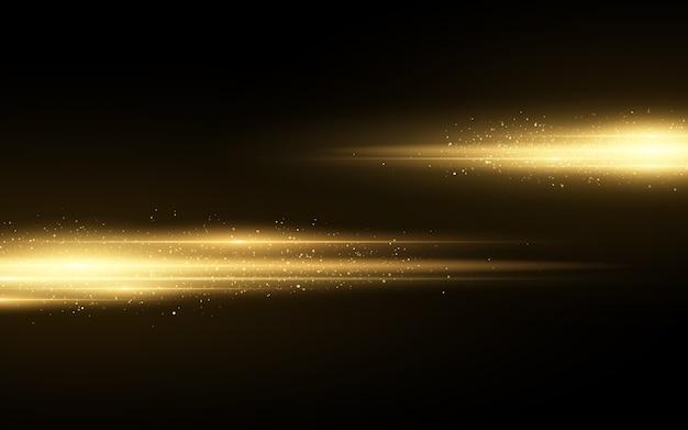 Stylowy złoty efekt świetlny na białym na czarnym tle. złote błyszczy. świecące linie z iskierkami. niewyraźne ślady świetlne.