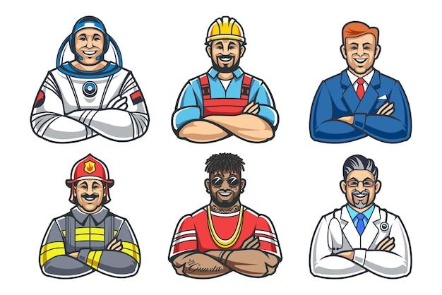 Stylu cartoon uśmiechnięci mężczyźni ze skrzyżowanymi rękami. różne postacie zawodu: astronauta, budowniczy, biznesmen, strażak, raper i lekarz.