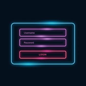 Stylu neon formularz logowania ui design z błyszczącą skutku