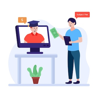 Stypendium studenckie płaskie ilustracja student wewnątrz ekranu z mężczyzną stojącym na zewnątrz