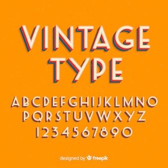Stytle retro szablon dekoracyjny alfabet