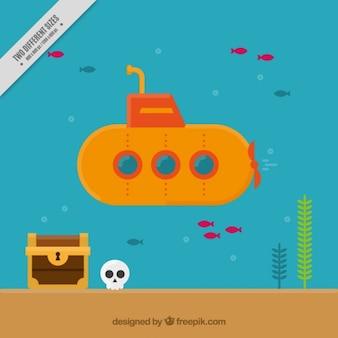 Submarine tło w płaskiej konstrukcji