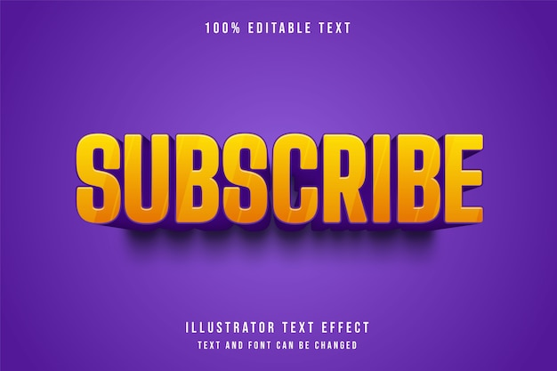 Subskrybuj, 3d edytowalny efekt tekstowy żółty gradacja fioletowy komiks stylu