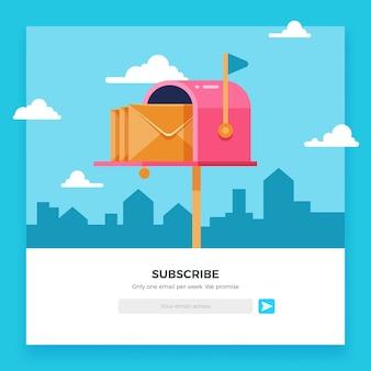 Subskrybuj e-mail, szablon newslettera online ze skrzynką pocztową i przyciskiem wysyłania