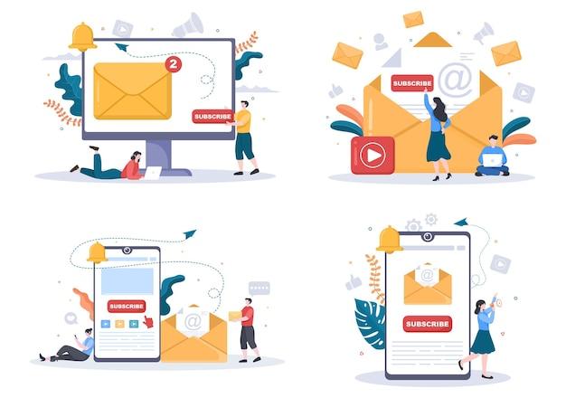 Subskrybuj ikonę przycisku tło wektor ilustracja dla youtube, blogowanie, promocja. koncepcja postu w mediach społecznościowych