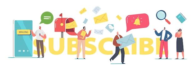 Subskrybuj koncepcję. postacie wysyłające lub odbierające e-maile z promocją. influencer marketing, social media lub promocja sieciowa, plakat smm lub seo, baner lub ulotka. ilustracja wektorowa kreskówka ludzie