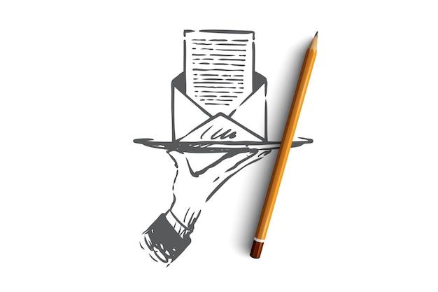 Subskrybuj, newsletter, poczta, internet, koncepcja komunikacji. ręcznie rysowane szkic koncepcja koperty listu.