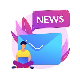 Subskrypcja newslettera. nowoczesna rozrywka, czytanie wiadomości online, poczta internetowa. reklama spamowa, list phishingowy, element projektu pomysłu oszustwa.