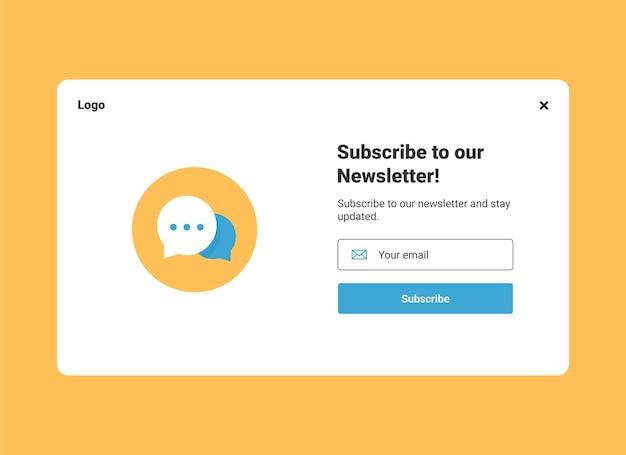 Subskrypcja newslettera wyskakujący szablon banera z wiadomościami z dymkiem