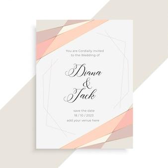 Subtelny elegancki projekt karty zaproszenie na ślub