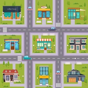 Suburb street cafe map seamless
