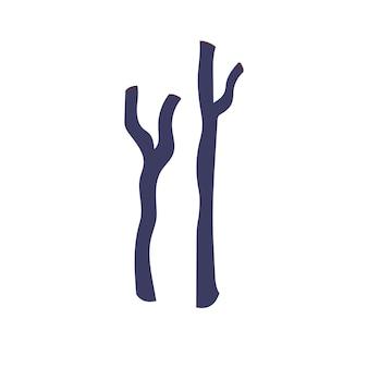Suche gałęzie na białym tle. ręcznie rysowane wektor na białym tle pojedyncza ilustracja.