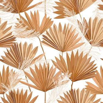 Suche liście palmowe wektor tropikalny, wzór trawy pampasowej, tło boho projekt akwarela na ślub, druk na tkaninie, egzotyczne tropikalne tapety tekstury, okładka, tło, ozdoba