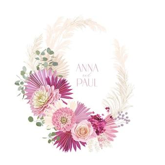 Suche róże ślubne, kwiat dalii, wieniec kwiatowy trawa pampasowa. wektor rustykalne suszone kwiaty, liście palmowe boho zaproszenia. ramka szablonu akwarela, luksusowa dekoracja, nowoczesny plakat, modny design