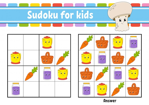 Sudoku dla dzieci. arkusz rozwijający edukację.