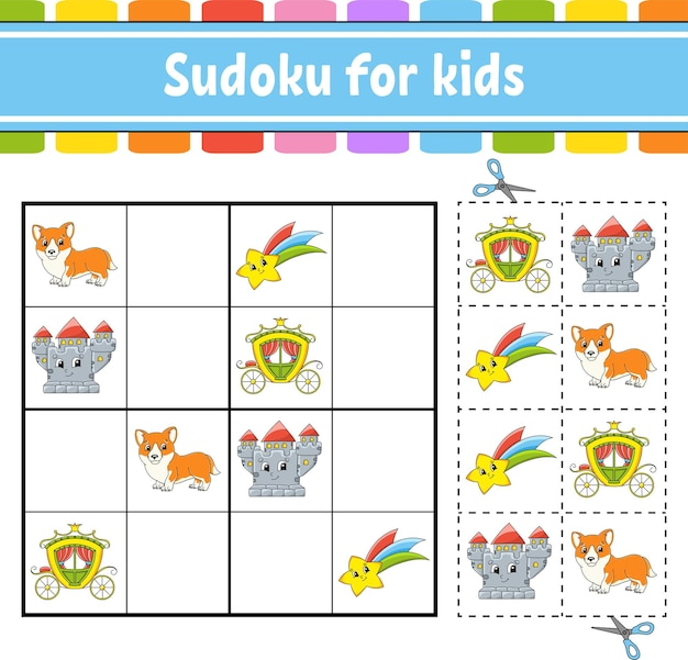 Sudoku dla dzieci motyw bajki arkusz do tworzenia edukacji