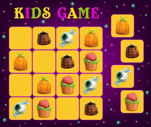 Sudoku dla dzieci szablon wektor z halloween cukierek albo psikus słodycze. arkusz łamigłówki edukacyjnej lub zagadki logicznej dla dzieci w wieku przedszkolnym z kreskówkowymi cukierkami czekoladowymi, ciastami dyniowymi i babeczkami