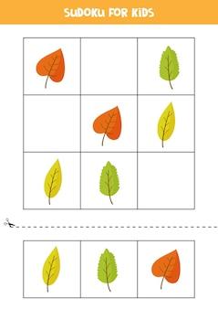 Sudoku dla dzieci w wieku przedszkolnym. gra logiczna z jesiennymi liśćmi.
