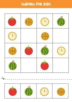 Sudoku dla dzieci w wieku przedszkolnym. gra logiczna z okrągłymi przedmiotami.