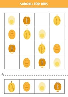 Sudoku dla dzieci w wieku przedszkolnym. gra logiczna z owalnymi przedmiotami.