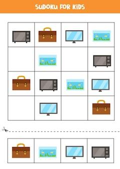 Sudoku dla dzieci w wieku przedszkolnym. gra logiczna z prostokątnymi przedmiotami.