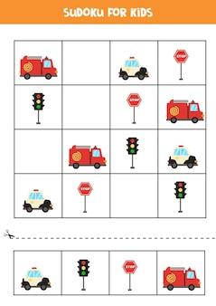 Sudoku dla dzieci w wieku przedszkolnym. gra logiczna z transportem.