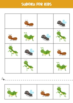 Sudoku Dla Dzieci W Wieku Przedszkolnym. Gra Logiczna Z Uroczymi Owadami. Premium Wektorów