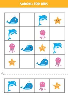 Sudoku dla dzieci w wieku przedszkolnym. gra logiczna z uroczymi zwierzętami morskimi.