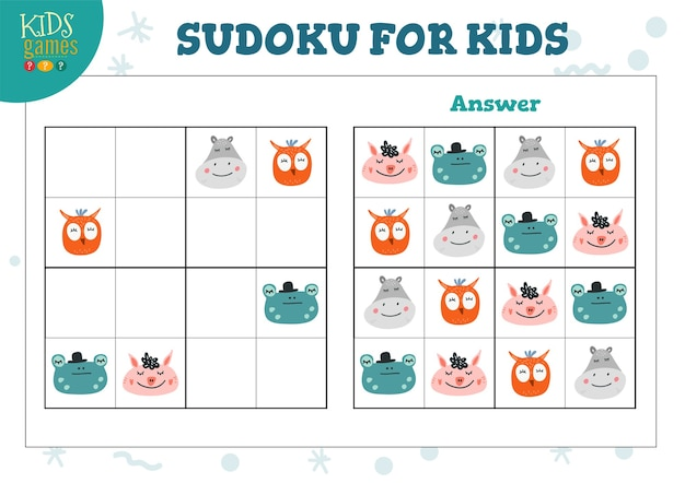 Sudoku dla dzieci z ilustracją odpowiedzi