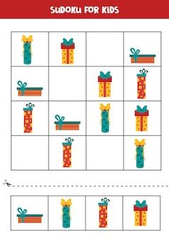 Sudoku dla dzieci z kolorowymi świątecznymi pudełkami edukacyjna gra logiczna dla dzieci.