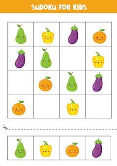 Sudoku dla dzieci ze słodkimi owocami kawaii