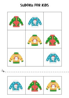 Sudoku dla dzieci ze swetrami świątecznymi.