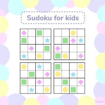 Sudoku dla dzieci ze zdjęciami. gra logiczna dla dzieci w wieku przedszkolnym. rebus dla dzieci. gra edukacyjna. romb, gwiazda, kwadrat, koło.