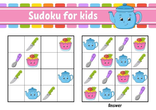 Sudoku z motywem naczyń dla dzieci