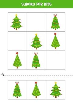 Sudoku z trzema obrazkami dla dzieci w wieku przedszkolnym. gra logiczna z choinkami.