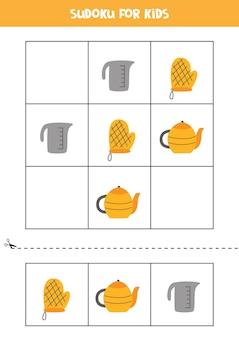 Sudoku z trzema obrazkami dla dzieci w wieku przedszkolnym. gra logiczna z przyborami kuchennymi.