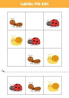 Sudoku Z Trzema Obrazkami Dla Dzieci W Wieku Przedszkolnym. Gra Logiczna Z Uroczymi Owadami. Premium Wektorów