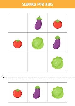 Sudoku z trzema obrazkami dla dzieci w wieku przedszkolnym. gra logiczna z uroczymi warzywami.