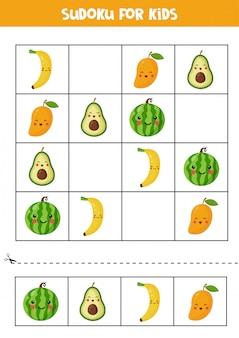 Sudoku ze słodkimi owocami kawaii. puzzle dla dzieci.