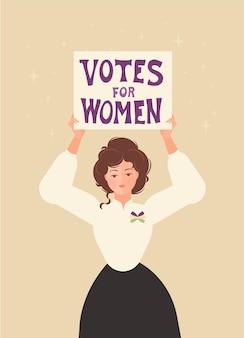 """Sufrażystka stoi z plakatem """"prawa dla kobiet"""", lata 20. xx wieku. wstążka na piersi jest biało-zielono-fioletowa. solidarność i siła. płaska ilustracja."""