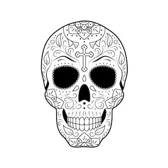 Sugar skull day of the dead ze szczegółowym ornamentem roślinnym