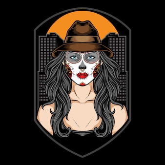 Sugar skull girl with hat illustration