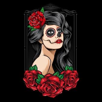 Sugarskull kobiety z różami wektorowymi